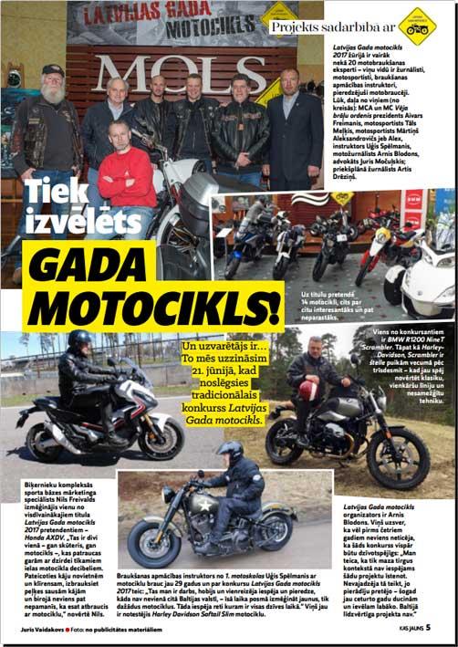 Tiek izvēlēts gada motocikls!